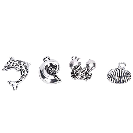 0ebbc2618f6d BronaGrand 100 Pieces Antique Mixed Charms Sea Themed Animals Charms  Pendants for Bracelets  Necklaces