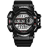 LED Digital Wrsitwatches S Shock Resistant Army Men Watches Waterproof Military Watches Sport Watches (red)