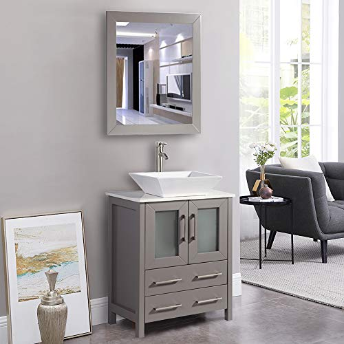Vanity Art 24 Inch Single Sink Bathroom Vanity Combo Set 2-Drawers, Single -