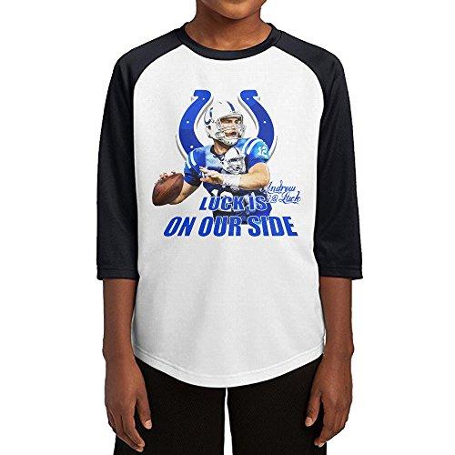 Hotboy19 Youth Boys Indianapolis #12 Football Got Luck Player Raglan Baseball T Shirt Black Size M (Colt Mascot Costume)