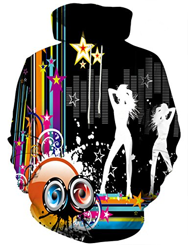 Yasswete Unisex 3D Band Graphic Digital Print Pullover Sweatshirt M