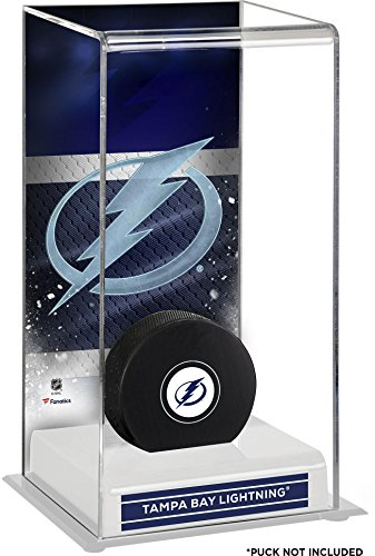 Sports Memorabilia Tampa Bay Lightning Deluxe Tall Hockey Puck Case - Hockey Puck Free Standing Display Cases