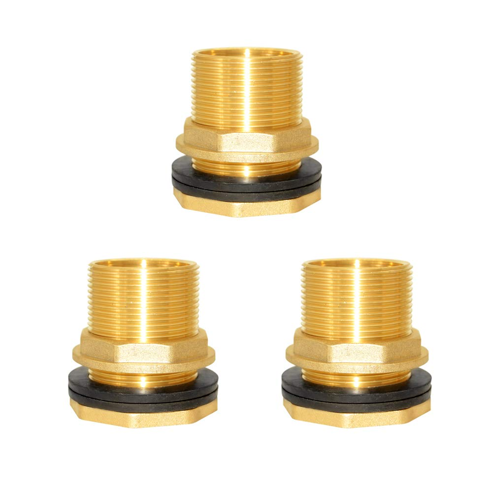 Hooshing Water Tank Connector 3//4 Female 1 Male Brass Bulkhead Fitting 3 Pack
