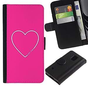 KingStore / Leather Etui en cuir / Samsung Galaxy S5 V SM-G900 / Texto del amor del corazón dulce Minimalista Blanca