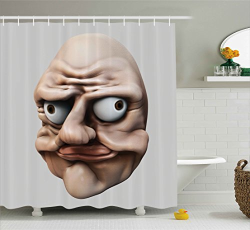 Humor Shower Curtain by Ambesonne, Grumpy Internet Troll Face with Trippy Gestures Ugly Post Meme Joke Image, Fabric Bathroom Decor Set with Hooks, 70 Inches, Egg Shell and Tan (Ugly Curtain Shower)