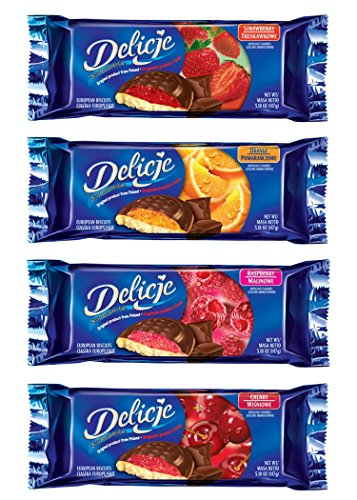 Chocolate Biscuit Cake - Delicje Variety Pack European Biscuits Strawberry, Orange, Raspberry, Cherry Filling