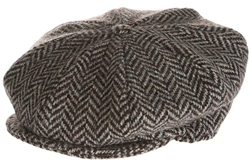 - Hanna Hats Men's Donegal Tweed 8 Piece Cap Newsboy Cap (Large, Gray Herringbone)