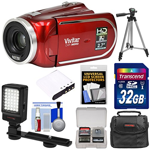 Vivitar DVR 960HD 1080p HD 12x Optical Zoom Video Camera Camcorder (Red) with 32GB Card + Battery + Case + LED Light + Tripod Kit