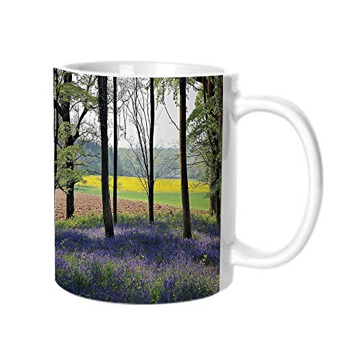 Woodland Decor Fashion Coffee Cup,Bluebells in Wepham Woods Wildflowers Spring Rural Environment Photo Print For office,One ()