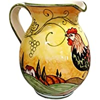 CERAMICHE D'ARTE PARRINI - Italian Ceramic Art Pottery Jar Pitcher Vino Vine 0.4 Gal Hand Painted Decorated Rooster Made in ITALY Tuscan