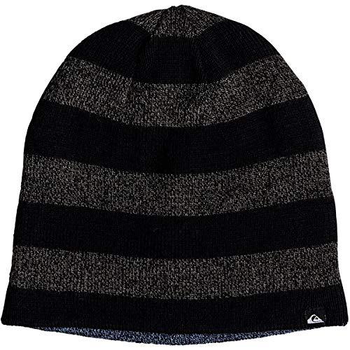 Reversible Stripe Beanie - Quiksilver Boys' Big Reversible Stripe Beanie Youth, Black, 1SZ