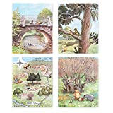 (Set of 4) Winnie the Pooh Prints (Classic Nursery Wall Art, Boys Decor, Baby Girls Art)''Winnie Has Fun'' – 8x10 Unframed