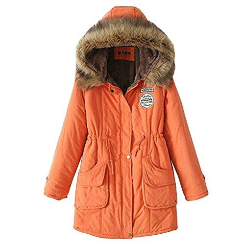 EMMA Abrigo de Invierno para Mujer de Lana Caliente Encapuchado Clásico de Gran Tamaño Naranja