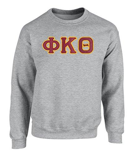 (Phi Kappa Theta Twill Letter Crewneck Sweatshirt Spt Grey)