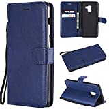 Samsung Galaxy A8 Wallet Case, Samsung A8 Cover, [Wrist Strap] [Kickstand] [Card/Cash Slots]Premium Flip Leather Folio Wallet Phone Cases Cover For Samsung Galaxy A8 2018 -Blue