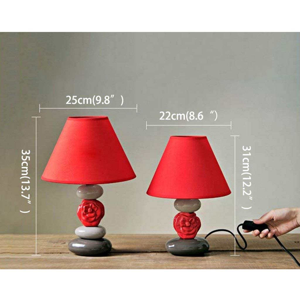 Amazon.com: ChuanHan Ceiling Fan Light Chandelier Lightings Table Lamp European Style Creative Bedroom Bedside Flower Ceramic Creative Red Cover Bed Night ...