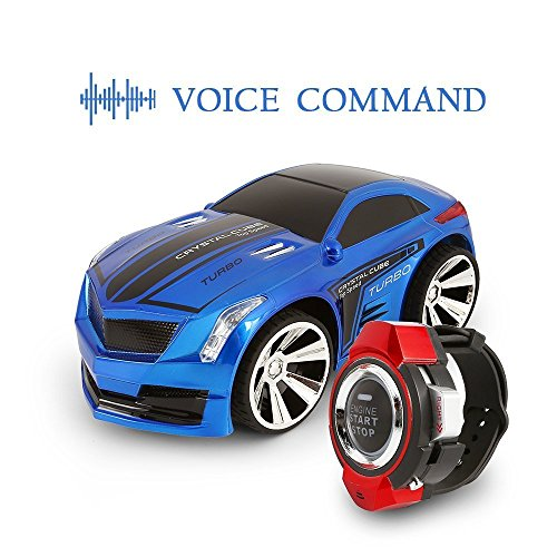 Voice Control Car,IEKA Rechargeable Voice Control Car,Command by Smart Watch,Creative Voice Activated Remote Control RC Car(Blue)