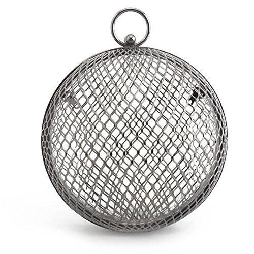 Sacs Clutch Métal Soirée Gray Ball Creux Bandoulière Out À Cage Sacs Femmes SqETgwT