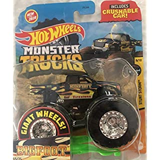 Monster Trucks Bigfoot 65/75 Stunt Storm 8/10 1:64 Scale with Crushable Car