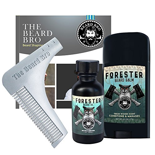 Beard Bro Complete Facial Hair Shaping Tool with Forester Beard Oil and Beard Balm (Bros Bros)