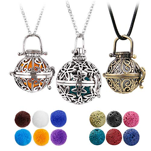 3 PCS Classical Aromatherapy Essential Oil Diffuser Necklace Pendant Combinations,Garden Style and Flower design Locket style Pendant.