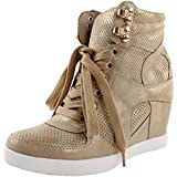 Top Moda Eric-9 High Top Lace Up Womens Wedge Sneakers