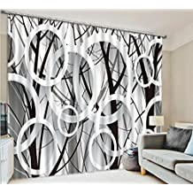 GFYWZ Curtains 3D Black and white Art Printing Living room bedroom Blackout Noise Reduction Window Drapes Panel , wide 3.0x high 2.7