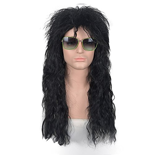 netgo Men's Rocker Wig 70s 80s Rocking Costume Heavy Metal Mullet Wig Black Curly - 70s And 80s Disco Costumes