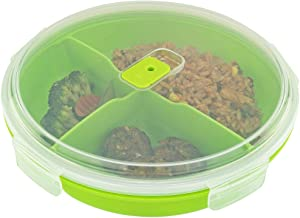 Microwave Food Storage Tray Containers - 3 Compartment Section Divided BPA Free Plates w/ Vented Lid - For Leftovers or Lunch