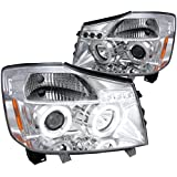 Spec-D Tuning 2LHP-TIT04-TM Nissan Titan Armada Chrome Clear Halo Projector Head Lights