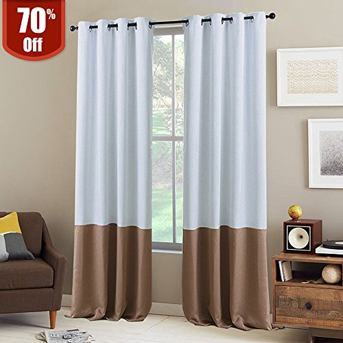 NICETOWN Block Color Window Curtains - Home Decoration Two Tone Thermal Insulated Grommet Blackout Curtains for Nursery (2 Panels,52
