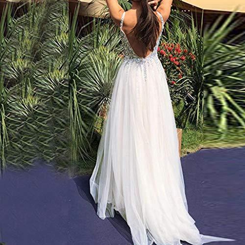 Abiti Bianco Sexy collo Senza elastica Vestito Somesun Donne Elegante nbsp;v Da Sposa Solida Festa Maxi Colore Maniche Sera Mesh Gonna bfY67gy