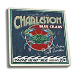 Charleston, South Carolina - Blue Crabs Vintage Sign (Set of 4 Ceramic Coasters - Cork-backed, Absorbent)