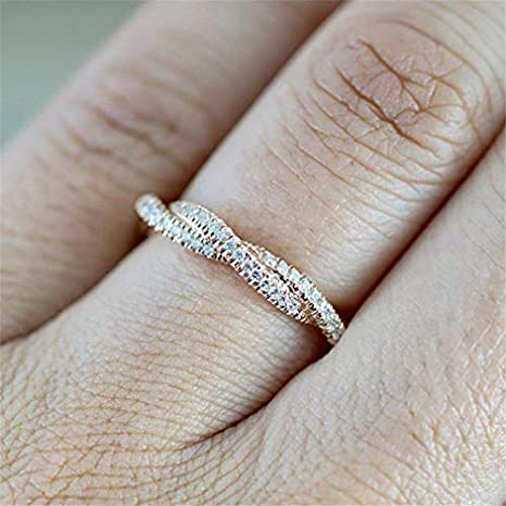 Amazon Com Travet Twisted Shape Crystal Ring For Women Bridal