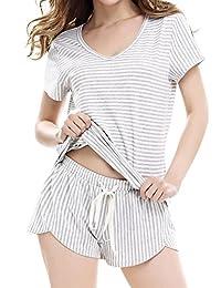 Women's Cotton V-neck Sleepwear Short Sleeve Stripe Pajama Set by NORA TWIPS(Gary,L)