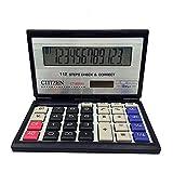 e-cholife Calculators, Fodable Thin 12 Digits Two Way Power Supply large Display Big Standard Calculator (black+silver)