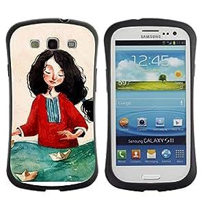 "Hypernova Slim Fit Dual Barniz Protector Caso Case Funda Para SAMSUNG Galaxy S3 III / i9300 / i747 [Pintura Mujer Arte Mar Rojo""]"