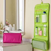 iHappy Roll-Up Canvas Hanging Travel Toiletry Cosmetic Makeup Bathroom Organizer Storage Bag,Green