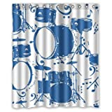 Fantastic Bath Waterproof Drum Set Background Shower Curtain/Bath Curtain Personalized Standard Size 60 X 72 Inch With Hooks Accessories