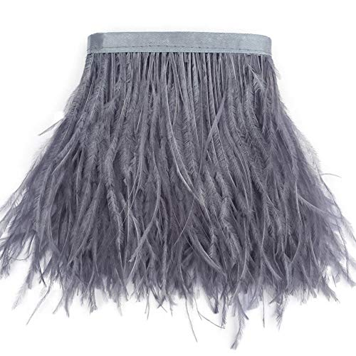 Sowder Ostrich Feathers Trims Fringe with Satin Ribbon Tape Dress Sewing Crafts Costumes Decoration Pack of 2 Yards(Grey) ()