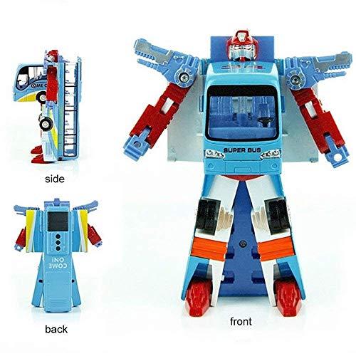 おもちゃの車 バスが戦闘機に変化 ロボットウォッチ 変形バス 変形 ロボットトイ 子供用ギフト ブルー