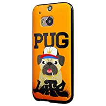 HTC One M8 Case, Cruzerlite Print Cases (PC Case) Compatible with HTC All New One (M8) 2014 - Pug Life