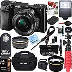Sony Alpha a6000 24.3MP Wi-Fi Mirrorless Digital Camera + 16-50mm Lens Kit (Black) + 64GB SD Card + DSLR Photo Bag + Extra Battery + Wide Angle Lens + 2X Telephoto Lens + Flash Bundle