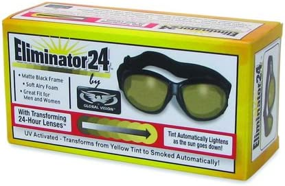 Global Vision Eliminator 24 yellow to smoked Sun Auto Tintal Skiing and Snowboarding goggles
