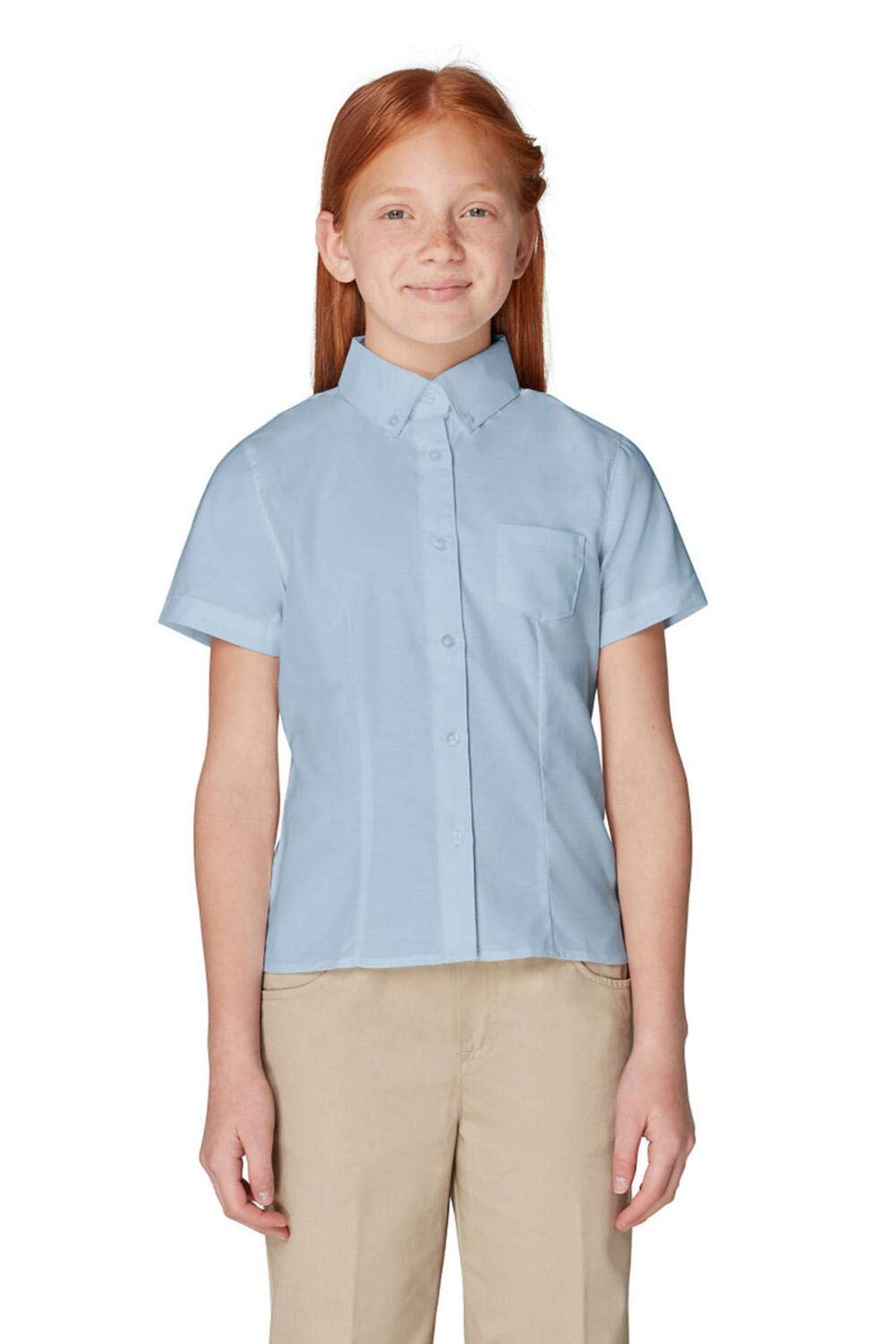 French Toast Big Girls' Short Sleeve Button Down Oxford with Darts, Light Blue, 10