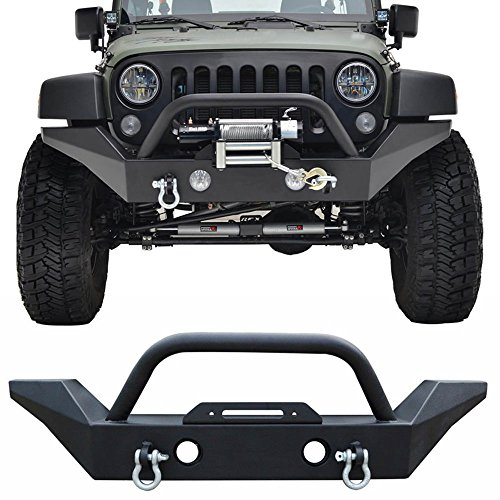 Bull Bar Fits 2007-2017 Jeep Wrangler JK | Front Bumper Guard Brush Push Grille Guard by IKON MOTORSPORTS | 2006 2007 2008 2009 2010 2011 2012 22013 2014 2015 2016