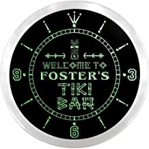 ncpm1093-g FOSTER'S Tiki Bar Pub Beer LED Neon Sign Wall Clock