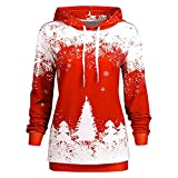 Sale Hooded for Women FEDULK Christmas Tree Snowflake Print Long Sleeves Sweatshirt Blouse(Red,US Size L = Tag XL)