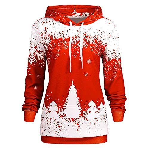 Yiqianzhaobiao Christmas Sweatshirt Fashion Women Santa Snowflake Print Tops Cowl Neck Long SleeveTops Pullover Blouse Shirt ()