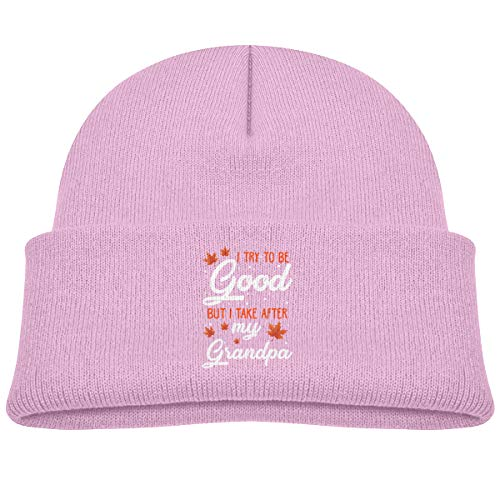 I Try to Be Good But I Take After My Grandpa Beanie Cap Skull Hat Toddler Pink
